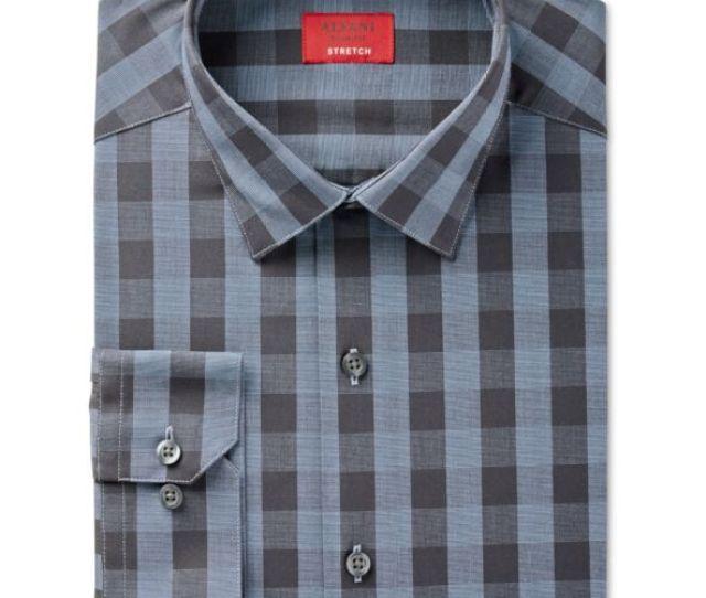 Alfani Men Slim Fit Blue Black Check Long Sleeve Dress Shirt