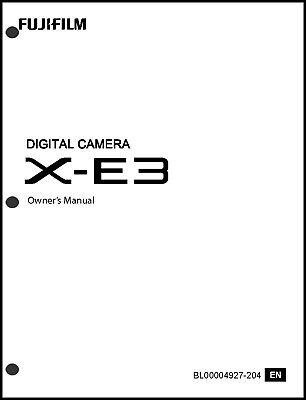 FujiFilm FinePix X-E3 Digital Camera Owner's Manual User