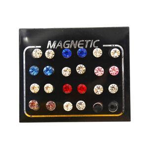 12 Paar modische gemischte Magnetohrringe ohne Piercing 3/4/5/6 mm YR