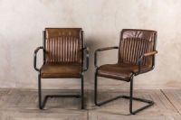 VINTAGE INSPIRED TAN LEATHER DINING CHAIR INDUSTRIAL LOOK ...