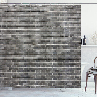 grey and white shower curtain brick wall tiles print for bathroom ebay