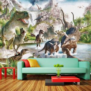 Questo colorato kit adesivi è anche un gioco che consente ai bambini decorare la propria parete; 3d Dinosauri Jurassic Park Bambini Bambini Carta Da Parati Murale Parete Salotto Camera Da Letto Ebay