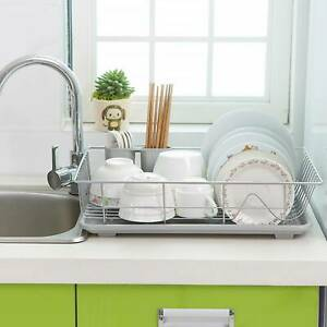 details about large dish drainer metal wire cutlery draining holder plate rack kitchen sink uk