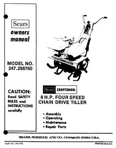 Craftsman 8HP Four Speed Chain Drive Tiller Operator