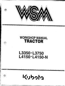 Kubota L3350 L3750 L4150 L4150-N Tractor Workshop Service