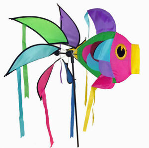 Moulin  vent girouette poisson gant multicolore dcoration de jardin neuf  eBay