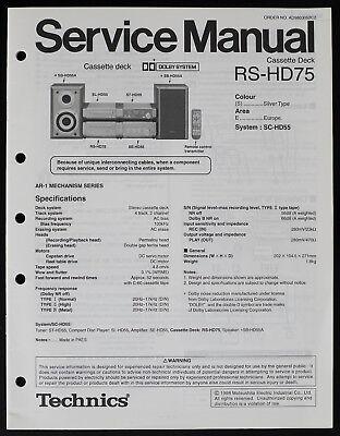 Technics RS-HD75 Original Cassette Deck Service Manual