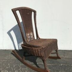 Woven Rocking Chair Under Table Tray Antique Wicker Rocker Rustic Primitive Armchair Image Is Loading