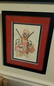 Deadpool Commission Framed Art by Famous Comic Artist Leandro Fernandez