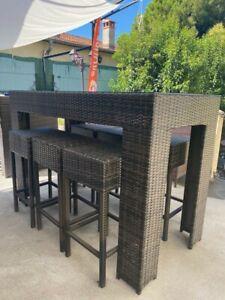 details sur table haute de jardin en resine