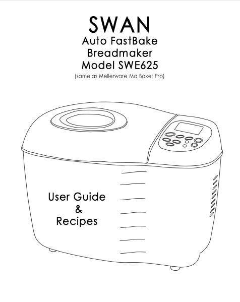 Swan Bread Machine Manual SB1010, SB1010N, SB1020, SWE625