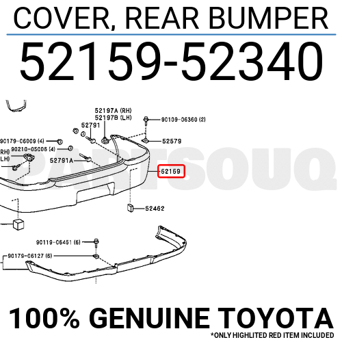 5215952340 Genuine Toyota COVER, REAR BUMPER 52159-52340