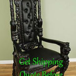 Black Gothic Throne Chair Lounge For Pool 6 Carved Mahogany King Lion Finish Image Is Loading 039