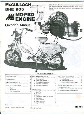 VINTAGE 1980 McCulloch BHE 905 Moped Engine Owners Manual