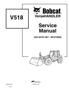 Bobcat V518 Versahandler Telehandler 2006 Edition Repair