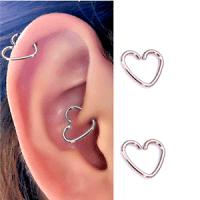 6 PC 16G HEART EAR CARTILAGE EARRING STEEL TRAGUS HELIX ...
