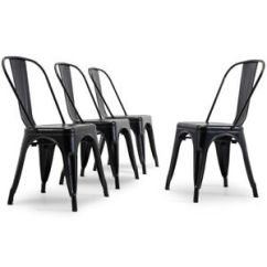 Stackable Dining Room Chairs Foldable Table And Outdoor Antique Black Set Of 4 Metal Image Is Loading