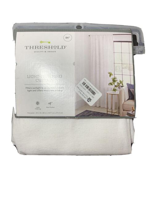 threshold light filtering curtain one panel 54x84 white farrah b1