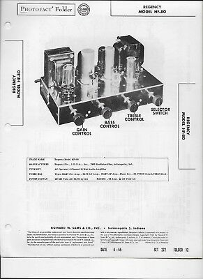 1955 PHOTOFACT Regency Audio Amplifier Model HF-80