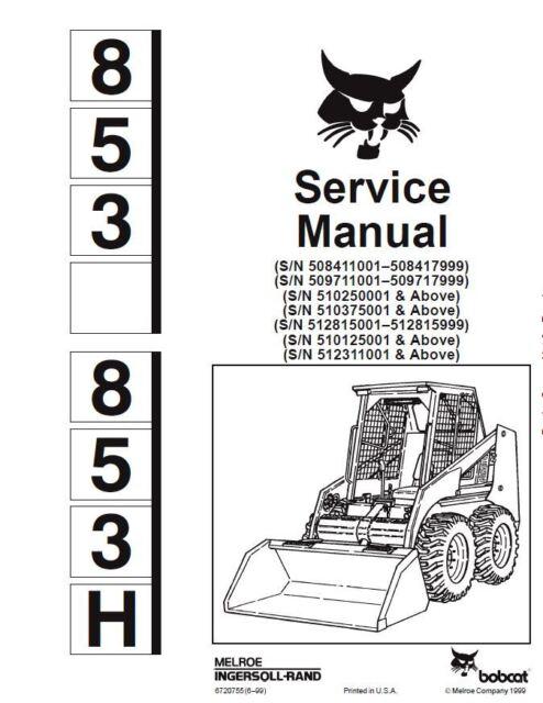 BOBCAT 853 Service Repair Manual SKID STEER Engine