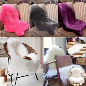 faux fur chair cover steel size sheepskin rug carpet seat plain skin image is loading