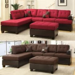 Large Plush Sectional Sofa Memory Foam Beds Uk 3 Pcs Living Room Reversible Chaise Set Ottoman Image Is Loading