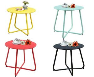 details about steel patio coffee table weather resistant outdoor side table small round end