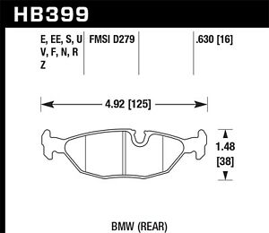 Hawk HP+ Rear Brake Pads For 82-91 BMW 318i/318is/325is
