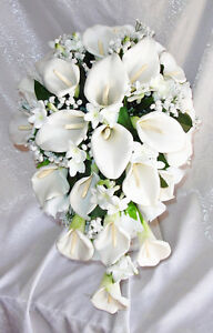 image is loading white cascade bridal bouquet calla lilies stephanotis silk