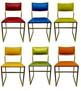 Set di sedie da sala d'attesa in rame chair design anni '70. Lotto Di Sei Sedie In Metallo Design Originale Anni 70 Vintage Modernariato Ebay