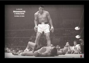 detalles acerca de muhammad ali vs sonny liston landscape 13x19 framed gelcoat poster boxing champ