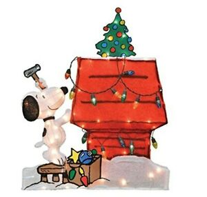 Animated Snoopy Decorating Dog House Tinsel Lighted Christmas Yard Sculpture Ebay