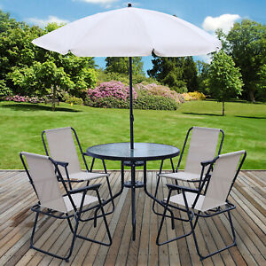 details about 6pc garden patio furniture set outdoor cream 4 seat round table chairs parasol