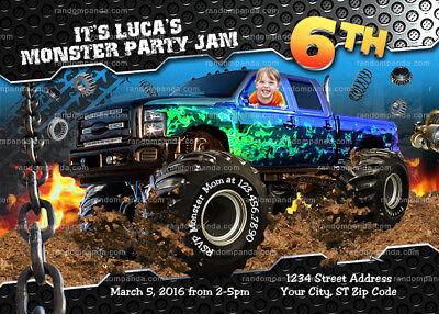 personalize monster truck invitation monster trucks birthday party invite ebay