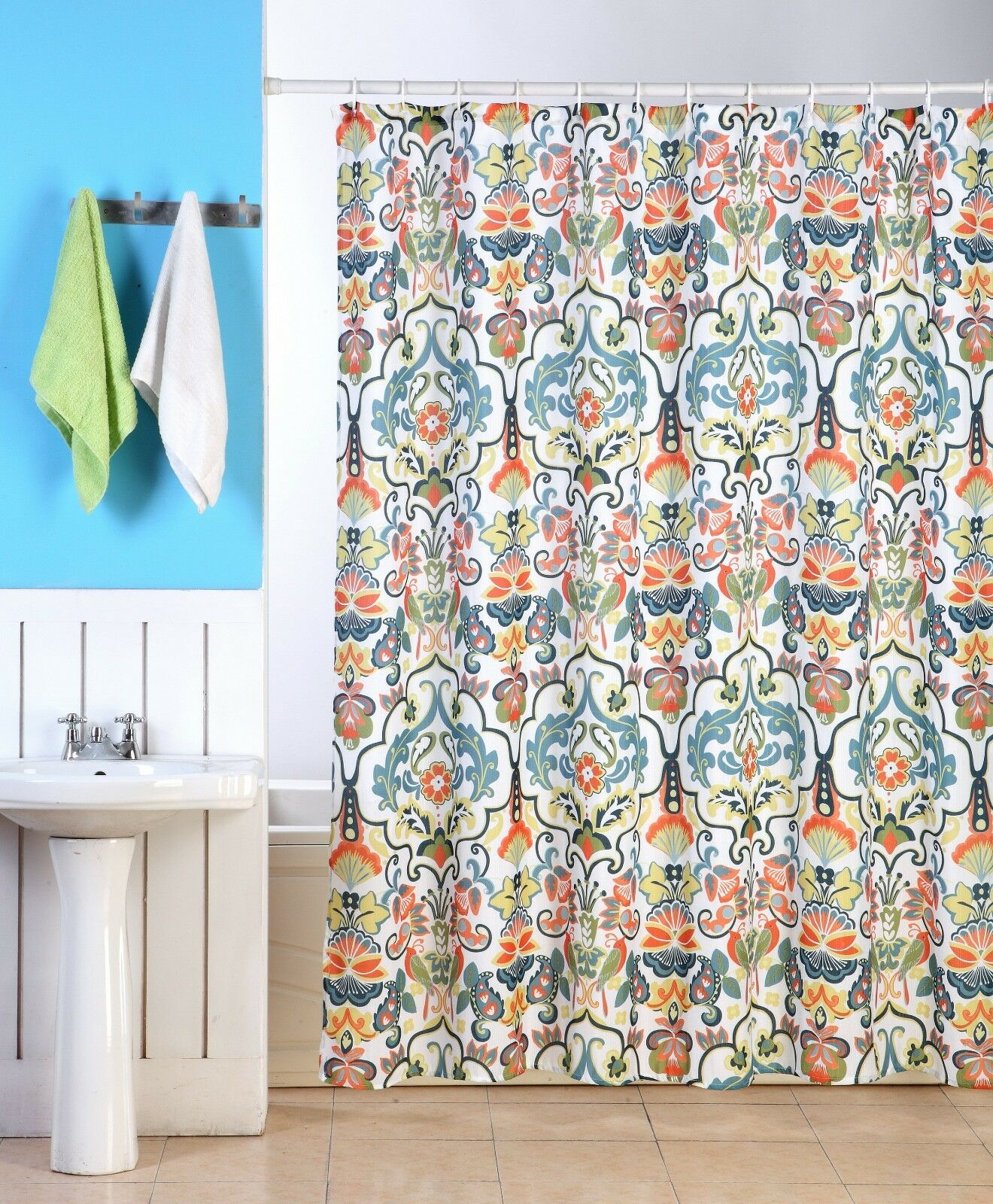 EMERY FABRIC SHOWER CURTAIN COLORFUL DAMASK FLORAL