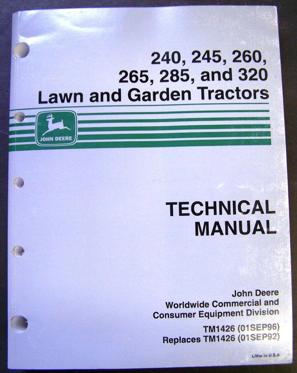 hight resolution of john deere models 240 245 260 265 285 320 lawn tractors