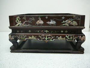 Fantastic rare Chinese mother of pearl inlaid tray wood wooden stand 19thC