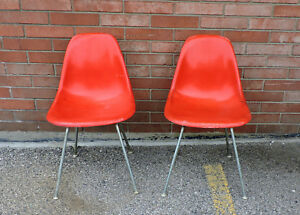 orange side chair safety first booster lot of 2 vintage herman miller charles eames chairs mid details about century