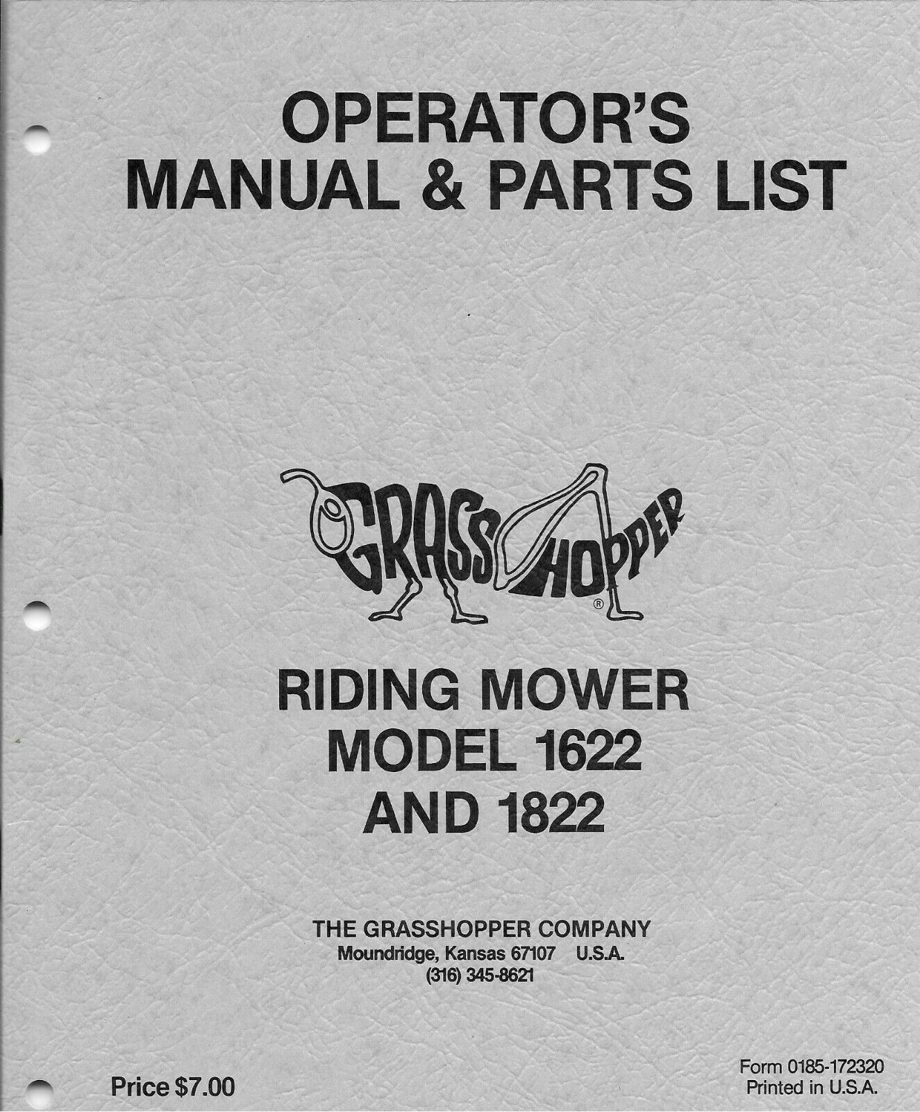 hight resolution of grasshopper model 1622 1822 1985 1986 only riding mower parts list 172320 for sale online ebay