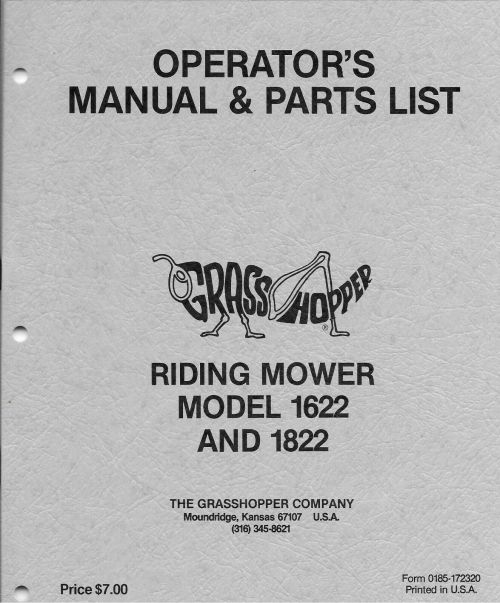 small resolution of grasshopper model 1622 1822 1985 1986 only riding mower parts list 172320 for sale online ebay
