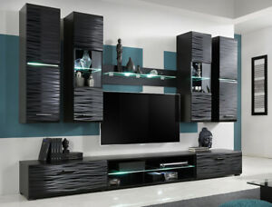 tv stand living room how to clean a messy fast furniture set unit modern cabinet cupboard wall shelf image is loading