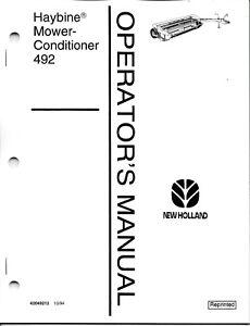 New Holland 492 Haybine Mower-Conditioner Operator's
