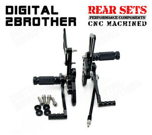 CNC Black Adjustable Foot Pegs Rear Sets For Suzuki