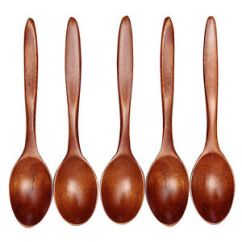 Kitchen Wooden Utensils Cast Iron Stove 5pcs Bamboo Spoon Cooking Soup Teaspoon Image Is Loading
