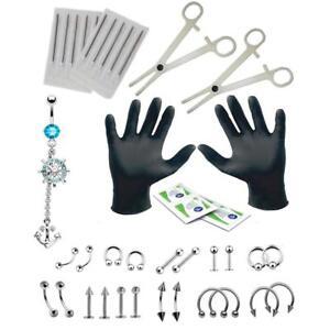 41x Piercingzange Werkzeug Set Body Piercing Kit Nase Ohrstecker Bauchnabelring
