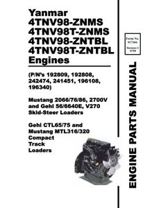 YANMAR 4TNV98 ZNMS T-ZNMS ZNTBL T-ZNTBL ENGINE PARTS