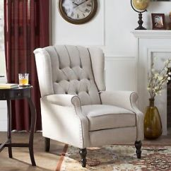 Wing Chairs For Living Room Egg Rocking Chair Recliner Button Tufted Fabric Furniture Club Image Is Loading