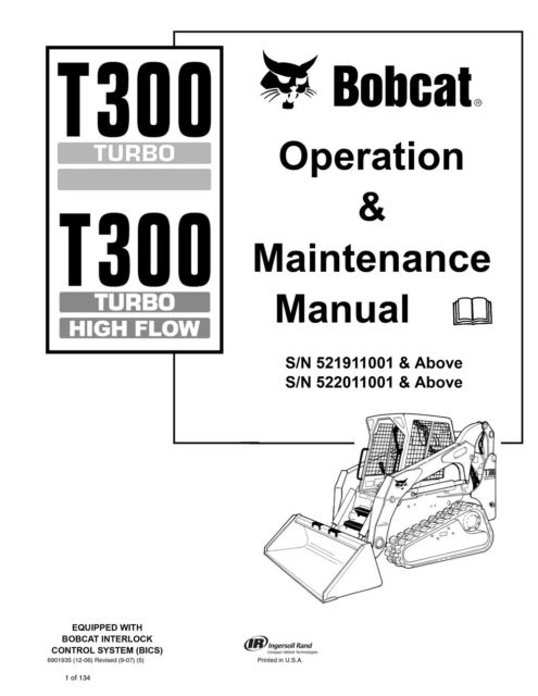 Buy Bobcat T300 Track Loader Operation & Maintenance