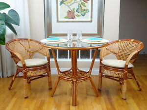 2 chairs and table rattan kaboost portable chair booster australia pelangi wicker set of w cushion round dinning image is loading