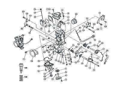 Diagram Part # 130 / KTM 400 520 / Keihin FCR Carburetor